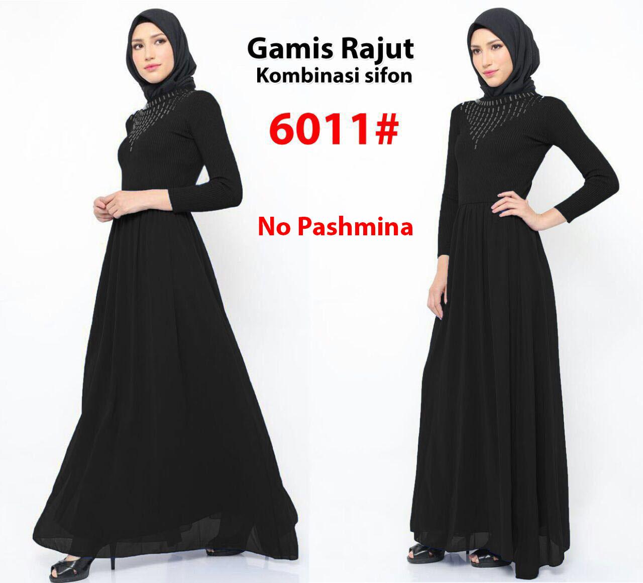 Gamis Import 6011 Black Grosir Tanah Abang Baju Import