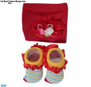Set Bayi Turban bunga 2in1 red