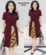 Dress kombi batik maroon