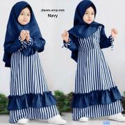 Gamis strip kids navy