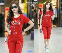 Setelan paris bunga red