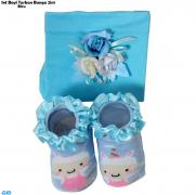 Set Bayi Turban bunga 2in1 biru