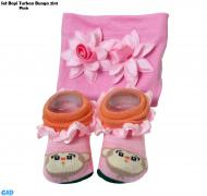 Set Bayi Turban bunga 2in1 pink