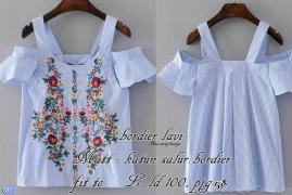 Blouse lavi-blus strip bunga