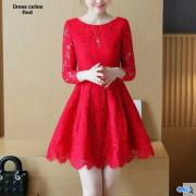 Dress brukat celine red