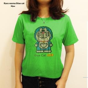 Kaos warna blue cat pink
