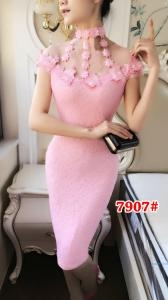 Dress import 7907 pink muda