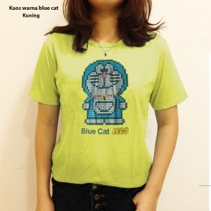 Kaos warna blue cat abu